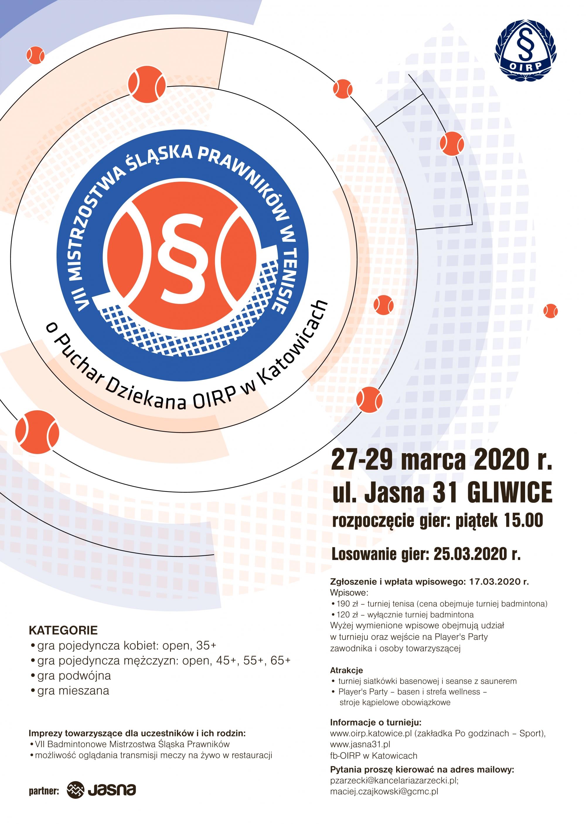 VII mistrzostwa śląska prawników w tenisie 2020-03-27, Jasna 31 Gliwice