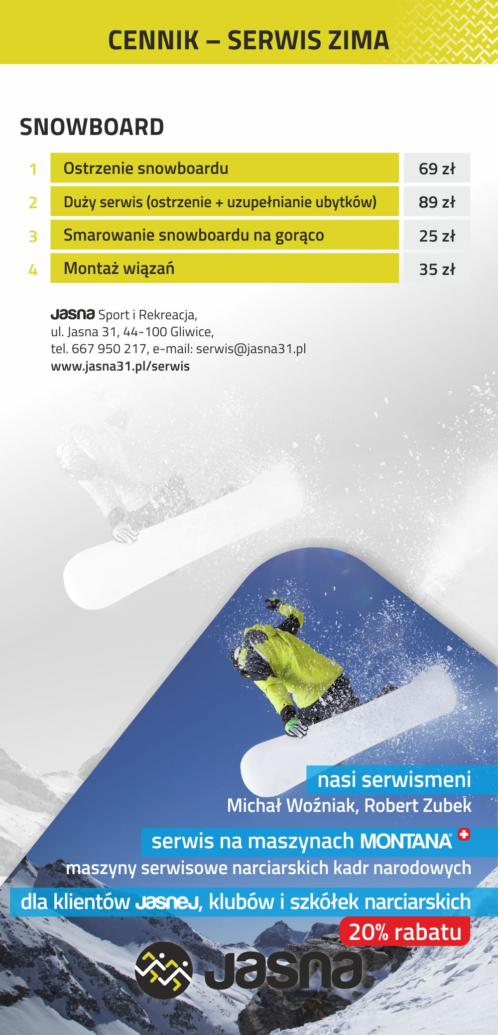 Jasna Cennik Serwis Snowboard
