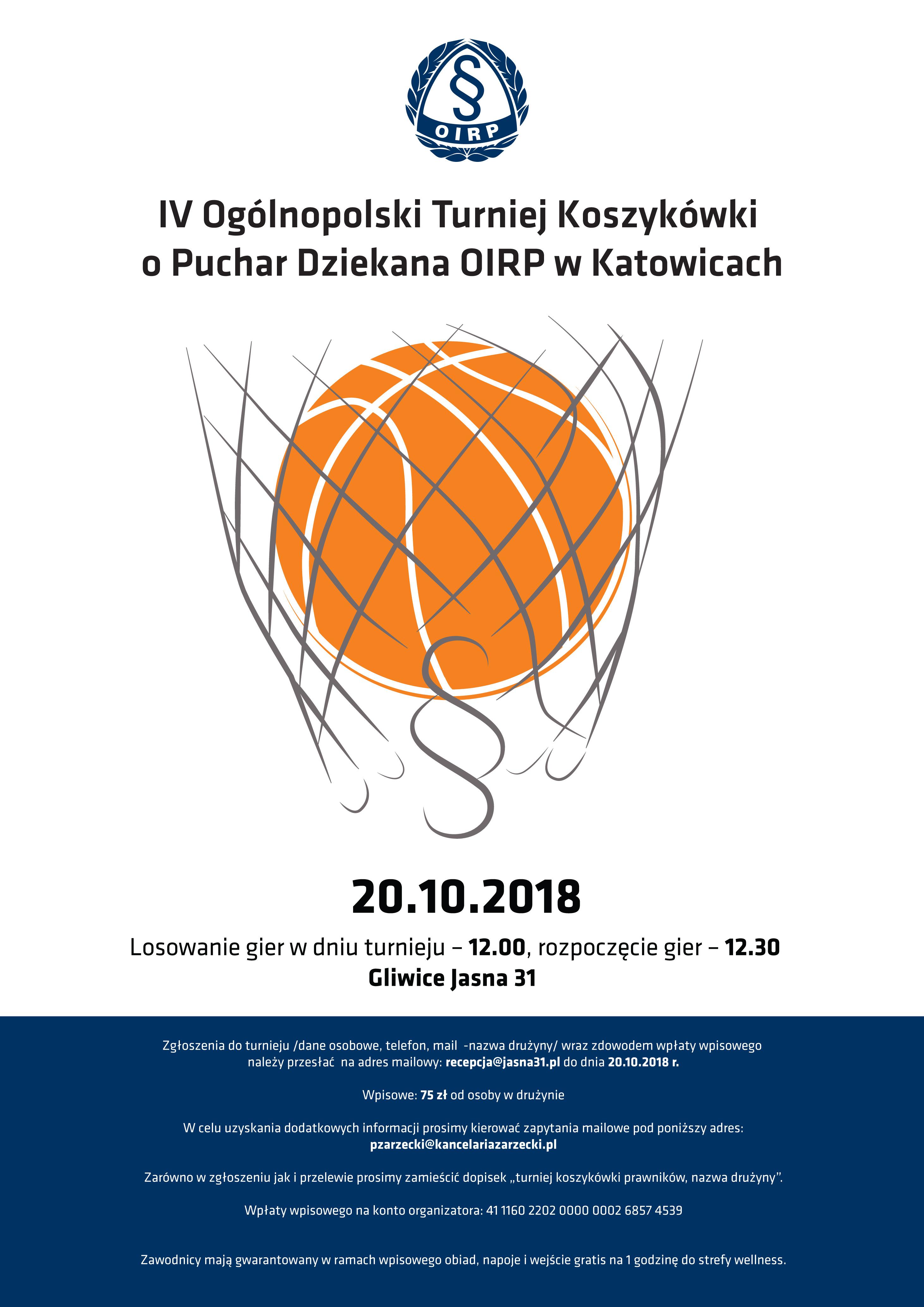 IV ogólnopolski turniej koszykówki o puchar dziekana OIRP w Katowicach