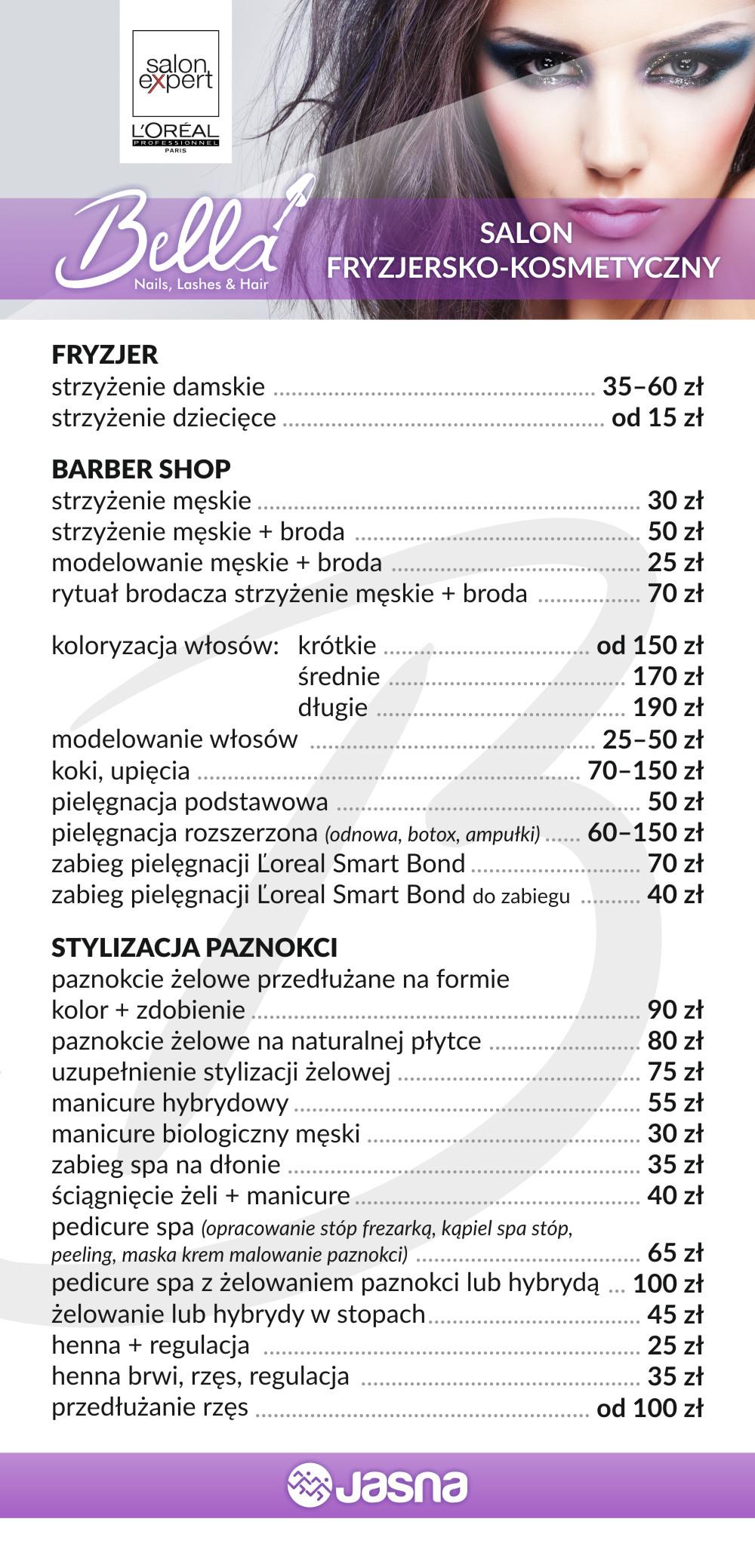 Cennik Bella Studio Urody - Jasna 31 Gliwice