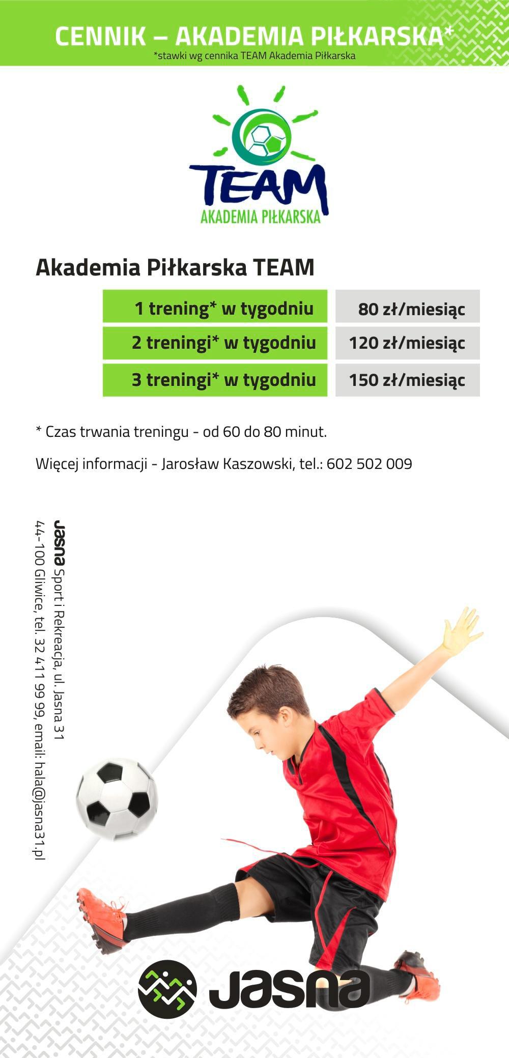 Cennik Piłka nożna - Jasna 31 Gliwice